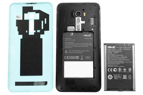 نقد و بررسی گوشی ایسوس زنفون سلفی ZD551KL - قاب پشتی- باتری - اسلات ها asus zenfone zd551kl Asus Zenfone ZD551KL Phone Asus Zenfone Selfie ZD551KL Review Cover Battery Slots