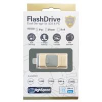 قیمت خرید فلش مموری USB 2 همراه با رابط لایتنینگ برند FlashDrive با ظرفیت 16 گیگ