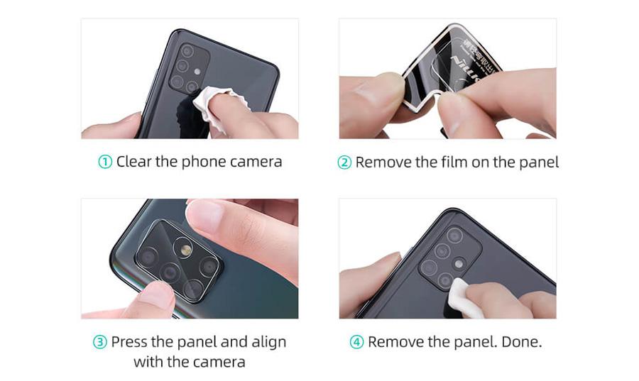 راهنمای نصب گلس لنز نیلکین دوربین گوشی