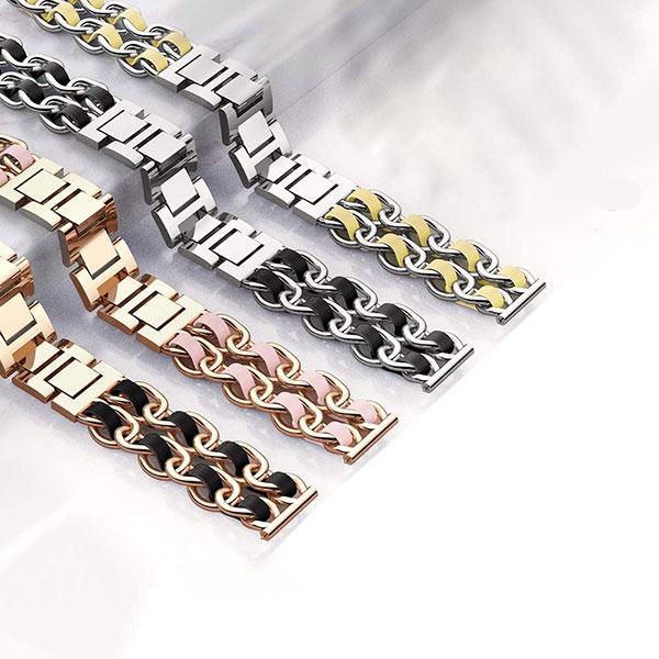بند استیل ساعت هوشمند مدل چرمی زنجیری