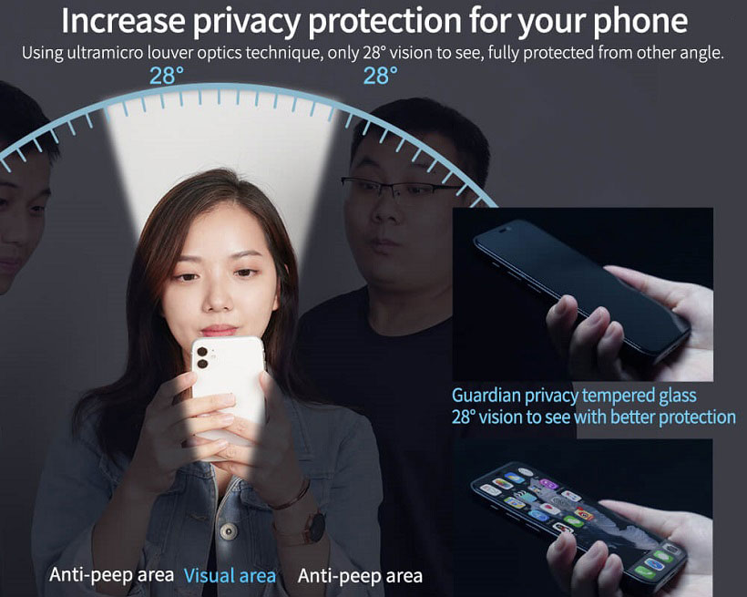 خرید گلس پرایوسی تمام صفحه نیلکین گوشی اپل آیفون 12/آیفون 12 پرو