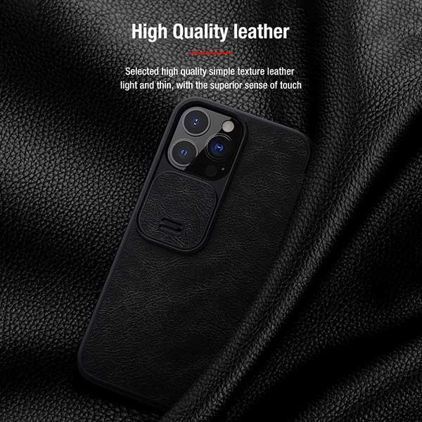 خرید کیف چرمی گوشی اپل ایفون 13 پرو مکس مدل نیلکین Qin Pro