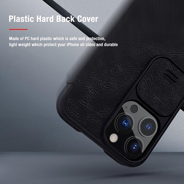 خرید کیف چرمی گوشی اپل ایفون 13 پرو مدل نیلکین Qin Pro