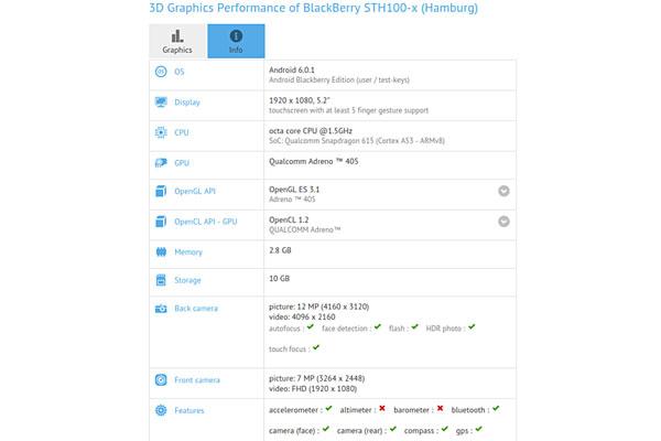 مشخصات گوشی بلکبری هامبورگ STH100-x