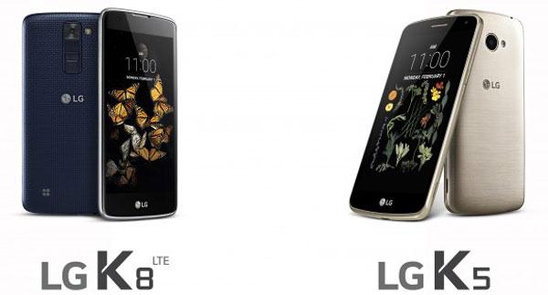 مشخصات گوشی های ال جی کا 5 و کا 8