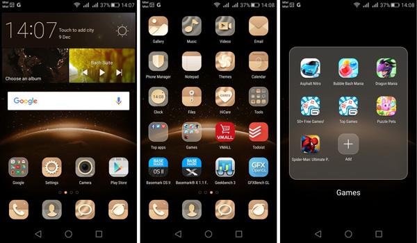نقد و بررسی گوشی هواوی جی 8 - رابط کاربری - صفحه خانه