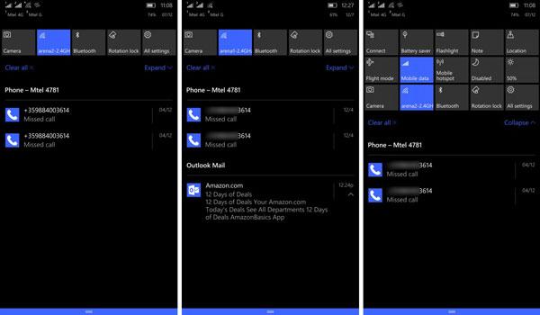 نقد و بررسی گوشی مایکروسافت لومیا 950 ایکس ال - رابط کاربری - اکشن سنتر